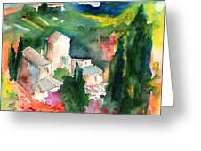 Houses In Montepulciano In Tuscany 01 Greeting Card
