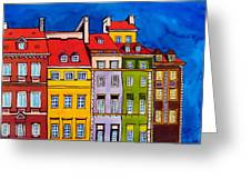 Houses In The Oldtown Of Warsaw Greeting Card