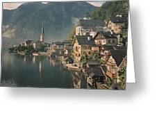 Houses Line The Lake Of Hallstatt Greeting Card