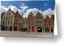 Houses Of Jan Van Eyck Square In Bruges Belgium Greeting Card