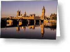 Houses Of Parliament With Westminster Bridge. Greeting Card