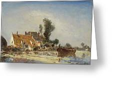 Houses On A Waterway Near Crooswijk Greeting Card