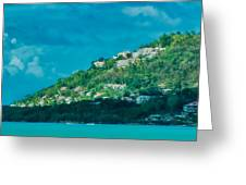 Houses On Hillside In St Lucia Greeting Card