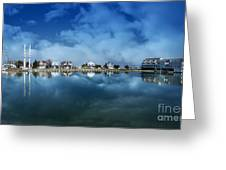Houses Reflecting In The Bay Greeting Card