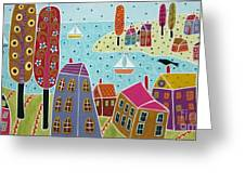 Houses Trees And Sailboats By The Bay Greeting Card