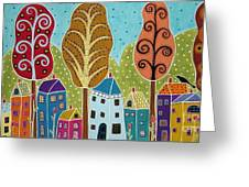 Houses Trees Birds Painting By Karla G Greeting Card