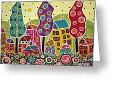 Houses Trees Flowers Greeting Card