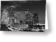 Houston By Night In Black And White Greeting Card