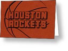 Houston Rockets Leather Art Greeting Card