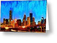 Houston Skyline 102 - Pa Greeting Card