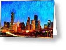 Houston Skyline 110 - Pa Greeting Card