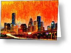 Houston Skyline 116 - Pa Greeting Card