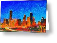 Houston Skyline 130 - Pa Greeting Card
