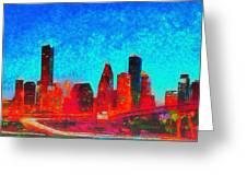 Houston Skyline 131 - Pa Greeting Card