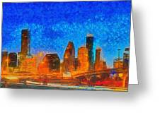Houston Skyline 40 - Pa Greeting Card