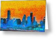 Houston Skyline 41 - Pa Greeting Card