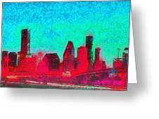 Houston Skyline 44 - Pa Greeting Card