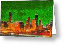 Houston Skyline 48 - Pa Greeting Card
