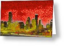 Houston Skyline 50 - Pa Greeting Card