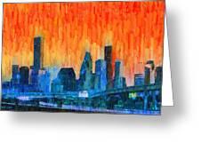 Houston Skyline 81 - Pa Greeting Card