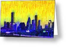 Houston Skyline 83 - Pa Greeting Card