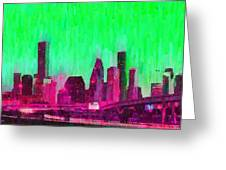 Houston Skyline 86 - Pa Greeting Card