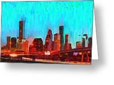 Houston Skyline 87 - Pa Greeting Card