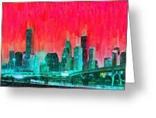 Houston Skyline 91 - Pa Greeting Card