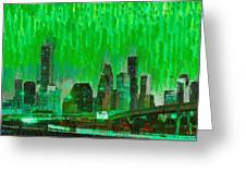 Houston Skyline 96 - Pa Greeting Card