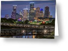 Houston Skyline Over Buffalo Bayou At Twilight Greeting Card