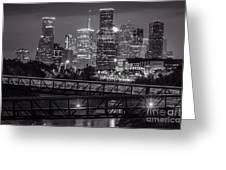Houston Skyline With Rosemont Bridge In Bw Greeting Card