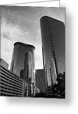 Houston Skyscrapers Black And White Greeting Card