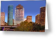 Houston Texas Skyline At Dusk Greeting Card