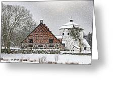 Hovdala Castle Gatehouse And Stables In Winter Greeting Card
