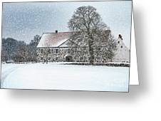Hovdala Castle Main House In Winter Greeting Card