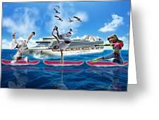Hoverboarding Across The Atlantic Ocean Greeting Card