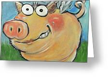 Hovering Pig Greeting Card