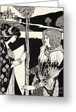 How Morgan Le Fay Gave A Shield To Sir Tristran Greeting Card