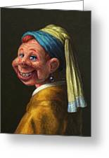 Howdy With A Pearl Earring Greeting Card
