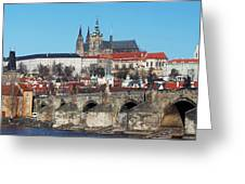 Hradcany - Cathedral Of St Vitus And Charles Bridge Greeting Card