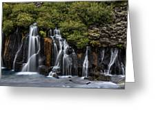 Hraunfossar In The Gloom Greeting Card