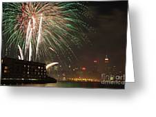 Hudson River Fireworks I Greeting Card