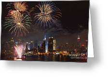 Hudson River Fireworks Iv Greeting Card by Clarence Holmes