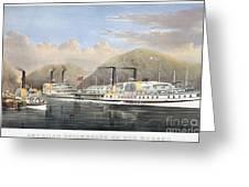 Hudson River Steamships Greeting Card by Granger