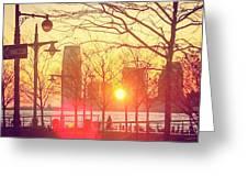 Hudson River Winter Sunset Greeting Card