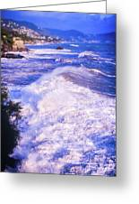 Huge Wave In Ligurian Sea Greeting Card