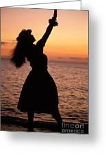 Hula At Sunset Greeting Card