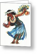 Hula Dancer With Uli Greeting Card