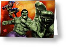 Hulk Greeting Card by Pete Tapang