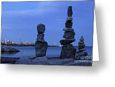 Human Figures Made From Stones At Night Greeting Card
